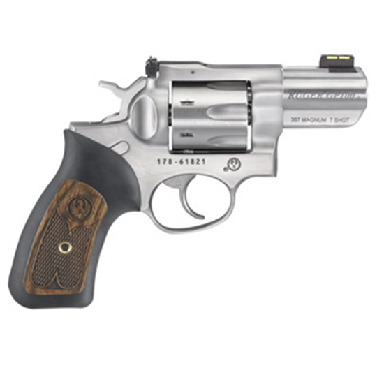 Ruger Gp100 357mag 2.5 Ss Adj Fos Rubber/wood 7rd