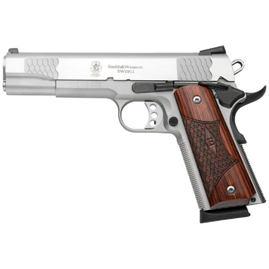 Smith & Wesson 1911 45acp E Series 5 Ss Wood Grips 8rd