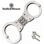 SMITH AND WESSON HINGED HANDCUFFS, MODEL 300-1, NICKEL
